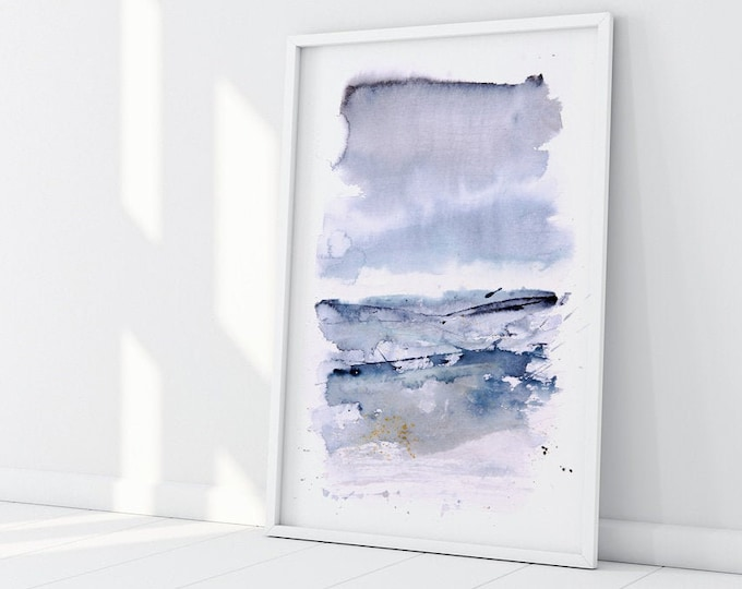 Abstract Landscape Print - Watercolour Painting Abstract Wall Art Hand Signed Numbered Embossed Limited Edition Modern Watercolour