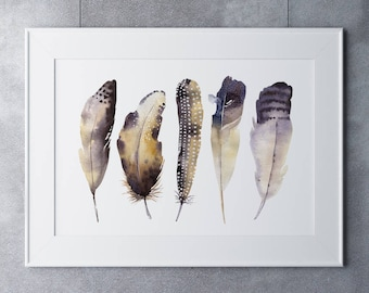 "Feathers on Watercolour Paper - Fine Art Print of ""Feathers"" Watercolour Painting"