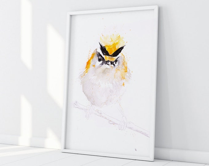 Firecrest Watercolour Painting - Bird Wall Art - Hand Signed Numbered Limited Edition Print of my Watercolour Painting. Living Room Art