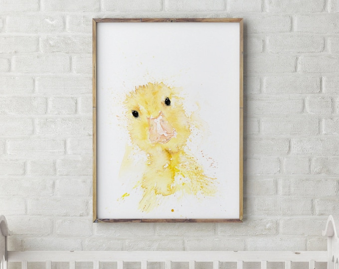 Mini Duck - Signed Limited Edition Print of my Original Water Colour Painting of a Baby Duck or Duckling Wall Art