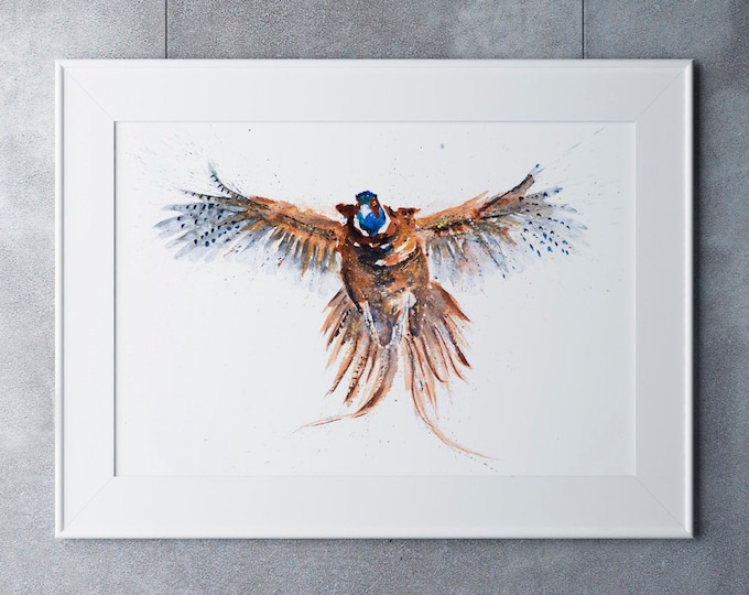 Flushed Pheasant Watercolour Painting - Hand Signed, Limited Edition Print of my Original Watercolour Painting of a Pheasant Living Room Art
