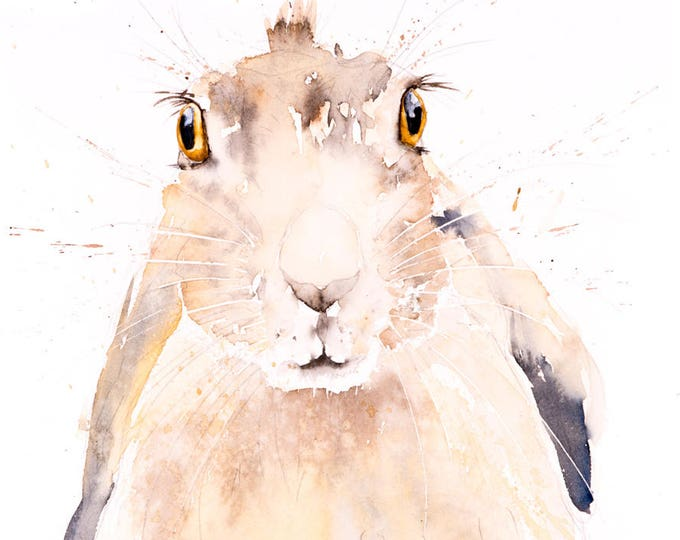 Harry Hare - Signed limited Edition Print of my Original Watercolour Painting of a Hare - Wall Art Bunny Rabbit Hare Art