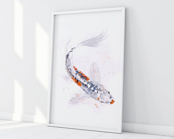 Koi Watercolor Painting Watercolour No.2 Limited Edition Signed Print of my Original Koi Painting of a Koi Carp Fish -  Wall Art Fine Art