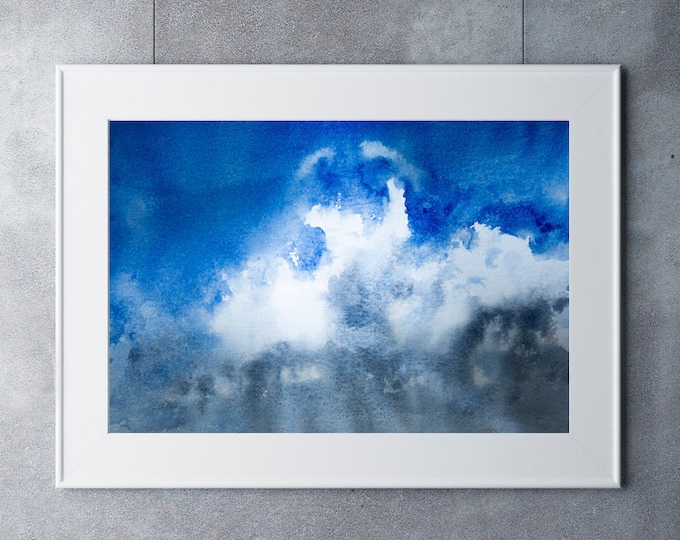 Abstract Skyscape Landscape Print - Watercolour Painting - Hand Signed Numbered Embossed Limited Edition Print Modern Watercolour