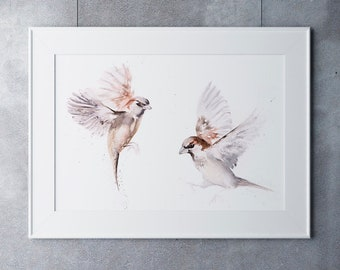 Sparrow Painting -  Pair of Sparrows Wall Art - Hand Signed Numbered Embossed Limited Edition Print of my Watercolour Painting of a Sparrow