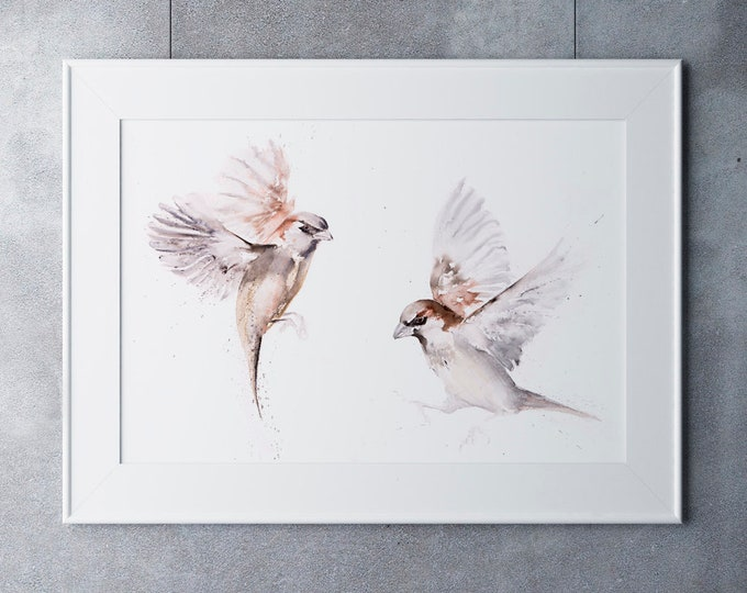 Featured listing image: Sparrow Painting -  Pair of Sparrows Wall Art - Hand Signed Numbered Embossed Limited Edition Print of my Watercolour Painting of a Sparrow