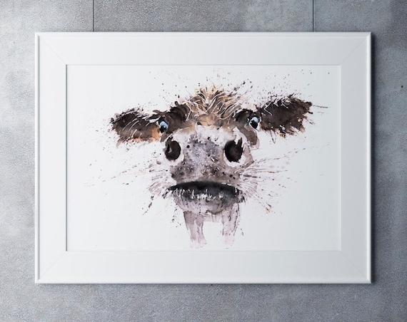 Wall Art Cow Watercolor Painting Cow Watercolour Watercolour Painting Abstract  Hand Signed Limited Edition Print of Cattle