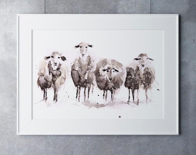 Sheep Watercolour Modern Abstract Painting Limited Edition Print Farm Animal Gift Watercolor Sheep Wall Art Wall Decor ArtAbstract
