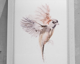 Just a Sparrow Painting - Sparrow Watercolour - Hand Signed Numbered Embossed Limited Edition Print of my Watercolor Painting of a Sparrow