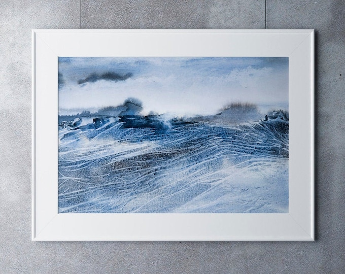 Abstract Seascape Landscape Print - Watercolour Painting - Hand Signed Numbered Embossed Limited Edition Print Modern Watercolour
