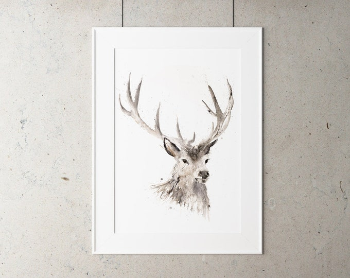 Stag Watercolor Watercolour Painting - Hand Signed Dated Numbered Embossed Limited Edition Print of the Original Painting Wall Animal Art