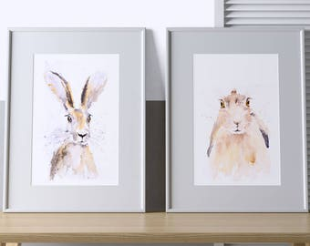 Harry and Hermione Hare - Signed limited Edition Prints of my Original Water Colour Paintings of Hares