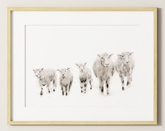 Sheep Watercolour Modern Abstract Painting Limited Edition Print Farm Animal Gift Watercolor Sheep Wall Art Wall Decor Art