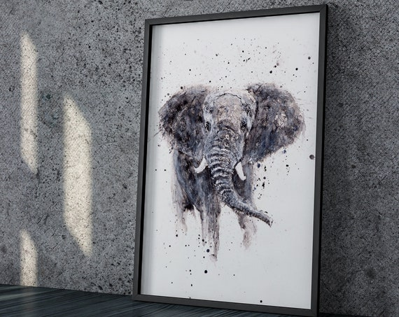 Elephant Watercolor Painting - Hand Signed Dated and Numbered Limited Edition Print of my Original Watercolour Elephant Painting animal art