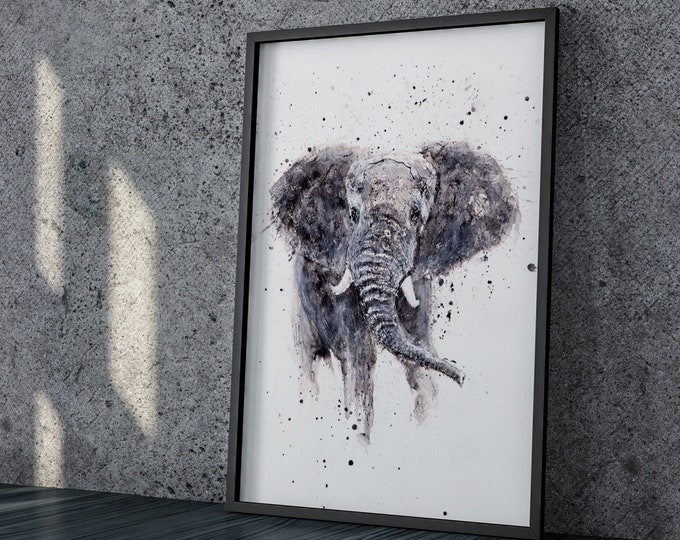 Elephant Painting - Elephant Watercolour - Hand Signed Dated and Numbered Limited Edition Print of my Original Watercolour living room art