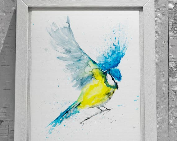 Blue Tit in Flight 7 - Signed limited Edition Print of my original watercolour painting