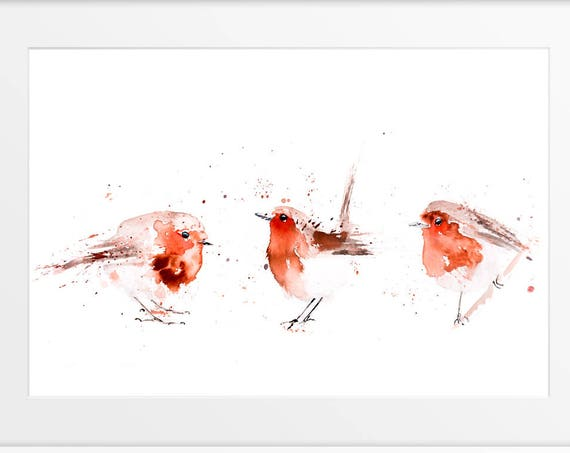 Robin Painting - 3 Fat Robin Red Breasts - Hand Signed limited edition Print of my Original Robin Watercolour Painting - Wall Art