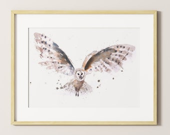 Owl Watercolour Painting - Signed limited Edition Print of my Original Watercolour Painting of an Owl