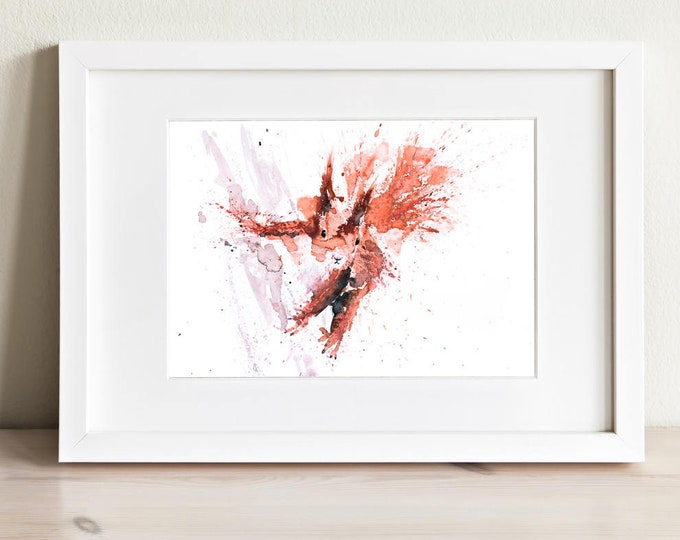 Squirrel No.1 - Signed limited Edition Print of my Original Water Colour Painting of a Red Squirrel