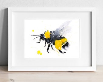 Abstract Bumble Bee Painting - Signed, Dated, Numbered and Embossed Limited Edition Print of my Bumble Bee Watercolour - Bee Wall Art