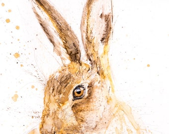 Hare Watercolour Painting - Hand Signed Limited Edition Print of my Hare painting