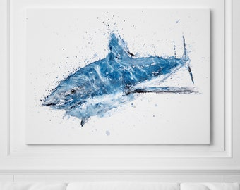 Shark Canvas Print Wall Art Shark Watercolour Watercolor Painting of my Original Abstract Shark Painting - Shark Art