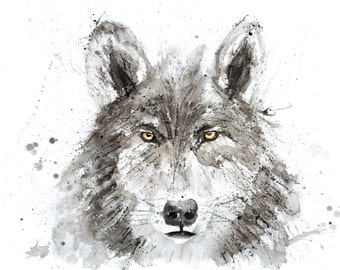 Wolf Painting  - Signed Limited Edition Print of my original watercolour painting