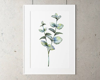 Botanical Eucalyptus Leaf Print on Watercolour Paper - Art Prints of Leaf Paintings