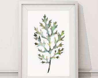 Botanical Leaf Print No.4 on Watercolour Paper - Fine Art Print of a Leaf Watercolour Painting