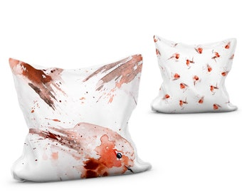 Robin Cushion vibrant animal print pillow with double sided design Robin Red Breast scatter cushion