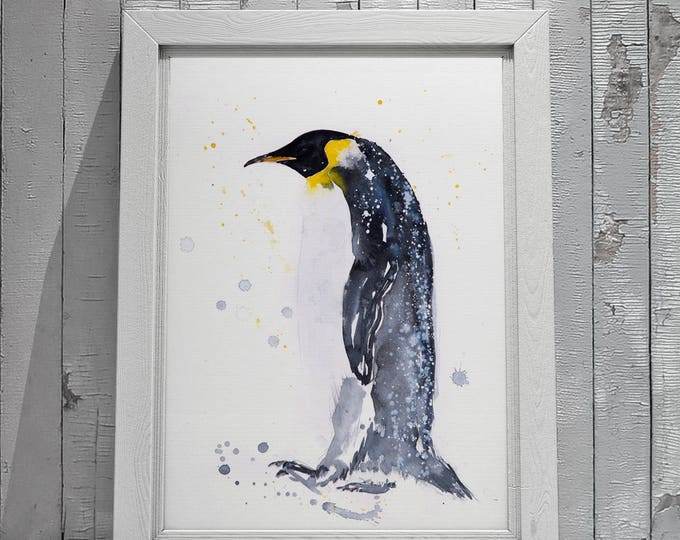Emperor Penguin Watercolor Watercolour Painting Limited Edition Signed Print of my original Abstract Penguin Painting Wall Art Print