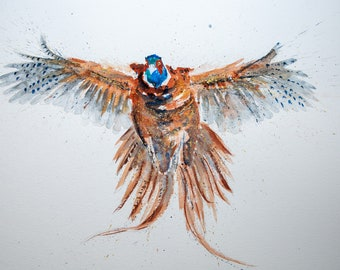 Flushed Pheasant Original Watercolour Painting by Syman Kaye