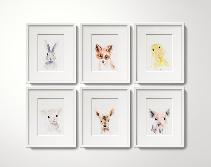 Nursery Decor, Limited Edition Prints Wall Art Water Colour Paintings of a Cute Baby Bunny, Fox, Duckling, Piglet, Fawn, Lamb