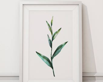 Botanical Leaf Print No.5 on Watercolour Paper - Fine Art Print of a Leaf Watercolour Painting