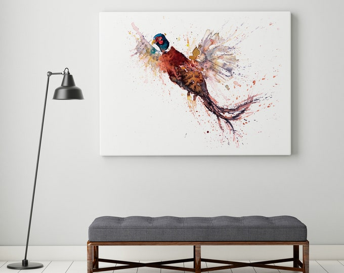 Pheasant Canvas print - Hand signed Canvas Print of a Flushed Pheasant, Living room Art