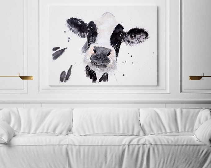 Cow Canvas Print Wall Art Cow Watercolour Watercolor Painting of my Original Abstract  Painting Cow Art Wall Decor
