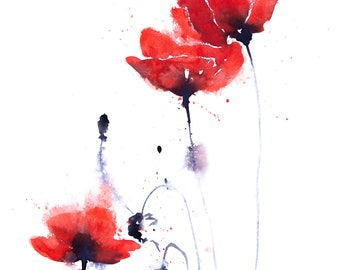 Hand Signed Limited Edition Print of my Poppy Watercolour Painting - Poppy Group No.2