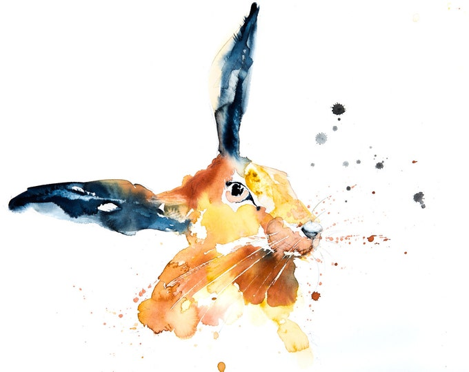 Hare Painting No.1 - Hand Signed Limited Edition Print of my Original Water Colour Painting of a Hare