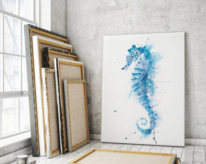 Seahorse Canvas Print - Hand Signed Seahorse Watercolour Painting Canvas