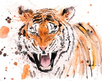 Tiger Watercolor Painting Watercolour - Hand Signed Dated Embossed Limited Edition Print of my Original Watercolour Painting Tiger Wall Art