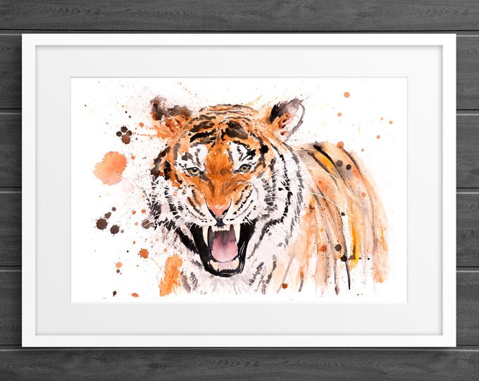 Tiger Watercolor Painting Watercolour - Hand Signed Dated Embossed Limited Edition Print of my Original Watercolour Tiger Living room Art