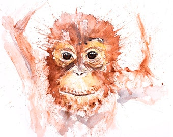 Baby Orangutang Watercolor Painting Watercolour Wall Art Hand Signed Numbered Dated and Embossed Limited Edition Print Orangutang Painting