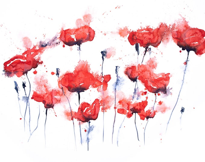 Hand Signed Limited Edition Print of my Poppy Watercolour Painting - Poppy Group No.1