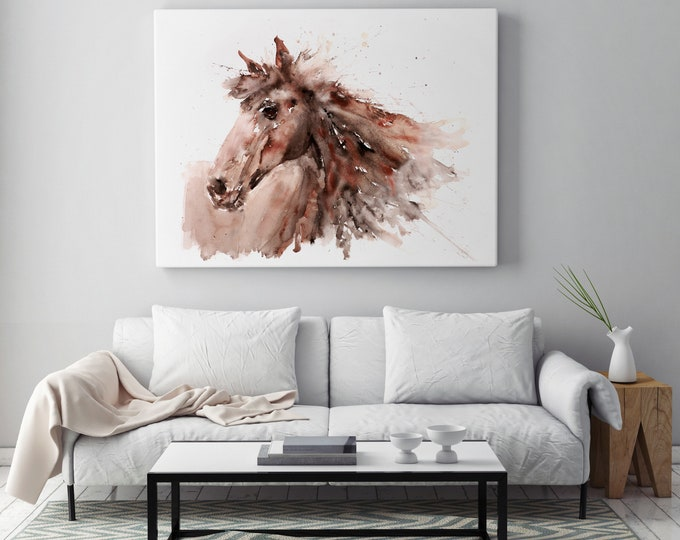 Horse Canvas Print- Hand Signed Horse Watercolour Wall Art - Watercolor Canvas Print of my Original Abstract Horse Painting