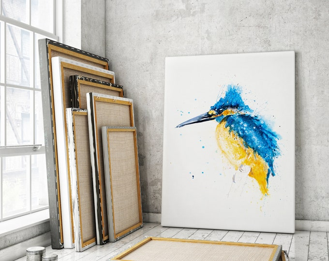 Kingfisher Canvas print - Hand signed by Syman Kaye - Heron Wall Art Watercolour Painting of my Original Abstract Art kingfisher Painting