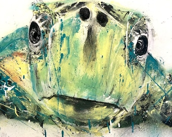 Original Turtle Spay Can Painting on Canvas - 100cm x 70cm