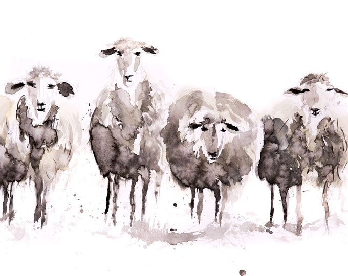 Sheep Watercolour Modern Abstract Painting Limited Edition Print Farm Animal Gift Watercolor Sheep Wall Art Wall Decor ArtAbstract