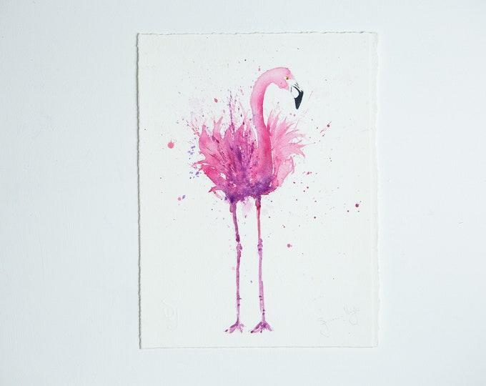 Original Flamingo Painting - Original Watercolour Painting Original Flamingo Wall Art Pink Flamingo Watercolour Painting by Syman Kaye