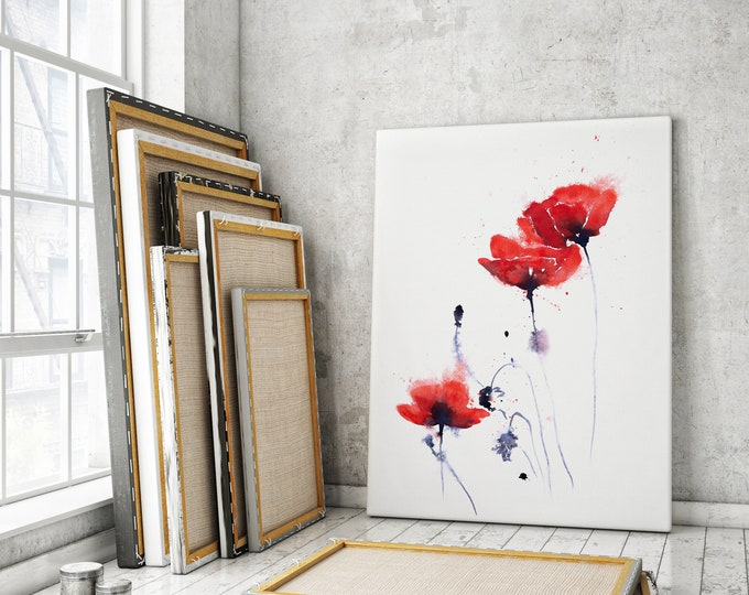 Poppy Canvas print - Hand signed Abstract Canvas Print of original Watercolour Painting of Poppies, Modern Living room Art