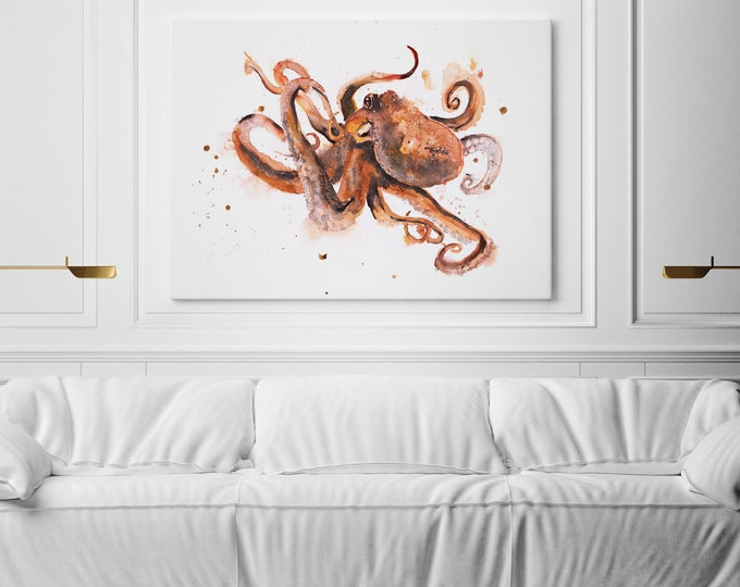 Octopus Canvas Print Wall Art Octopus Watercolour Painting of my Original Abstract Octopus Painting Large Cow Watercolour Art